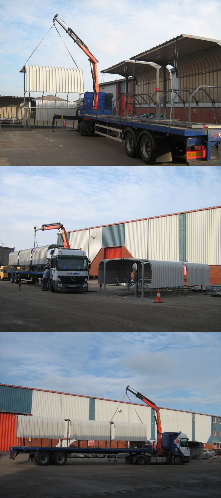 Bike shelters loaded and off for delivery on one of our Glasdon lorries.