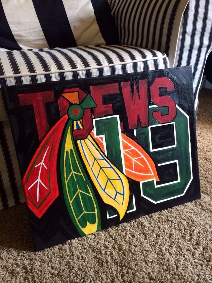 Chicago Blackhawks custom player painting by sportsONcanvas on Etsy https://www.etsy.com/listing/212056869/chicago-blackhawks-custom-player