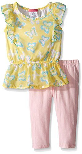 Kidtopia Little Girls Toddler Butterfly Print Peplum Bottom and Chiffon Top and Legging Tunic Strawberry Sundae 3T *** Want additional info? Click on the image.