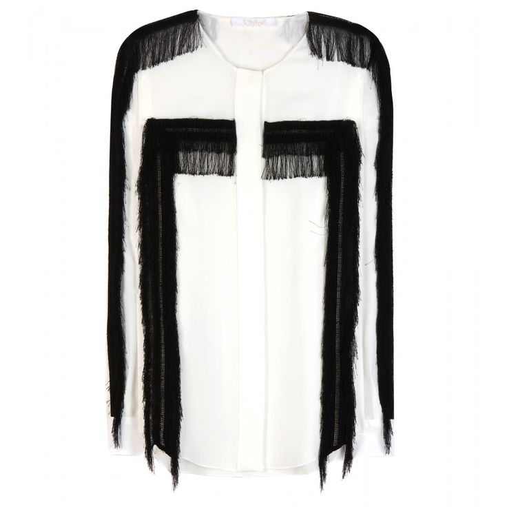 mytheresa.com - Seidenbluse mit Fransen - Langarm - Tops - Kleidung - Chloé - Luxury Fashion for Women / Designer clothing, shoes, bags