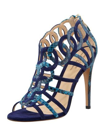 Monday, July 22nd: Alexandre Birman Suede/Python Ring Cage Sandal, 212 872 8940