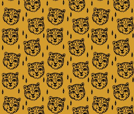 Tiger Face - Mustard fabric by andrea_lauren on Spoonflower - custom fabric