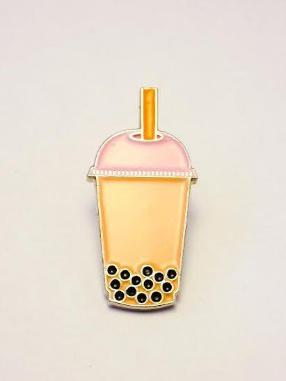 Boba Tea lapel pin. pearl. milk. bubble. food. taiwan. $10.00