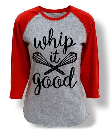 Look at this #zulilyfind! Heather Gray & Red 'Whip It Good' Whisk Raglan Tee #zulilyfinds