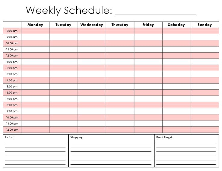 Weekly Schedule Calendars  NinjaTurtletechrepairsCo