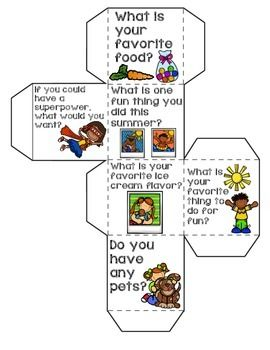 Fun ice breaker activity to do with your little ones during the first week of school! Just print, cut out, and fold/glue together. Your students will take turns rolling the dice and answering the questions they roll. I have added a picture for reference for friends who can't read yet.