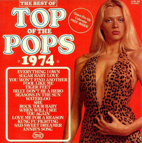 TOP OF THE POPS The Best Of Top Of The Pops '74 (1974 UK 14-track vinyl LP compilation. The hits keep coming with further TOTP action in this fab series, from the year that was Kung Fu Fighting with Tiger Feet etc. 16
