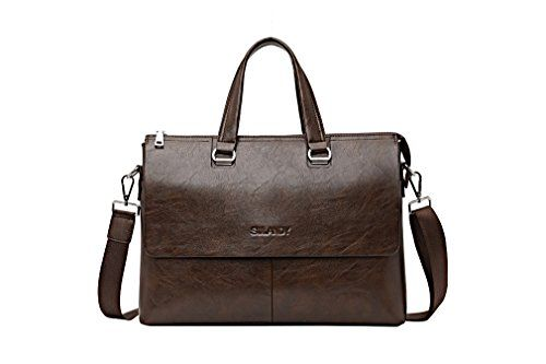awesome sulandy@Mens Leather Shoulder Bag Handbags Briefcase for the Office Messenger Bag/Large Enough to Hold Books / iPad