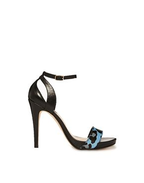 Dune Hallie Di Blue Leopard Barely There Heeled Sandals