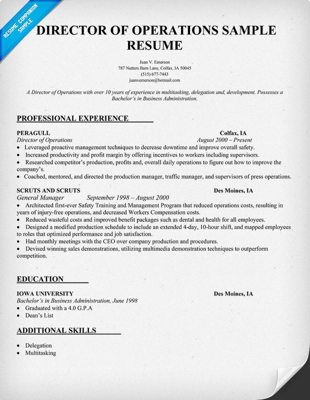 director of operations resume sample - Director Of Operations Resume