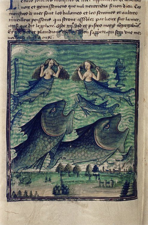 The third sign: the gathering together of the fish and sea monsters. Livre de la Vigne nostre Seigneur. France, c. 1450-1470,  Bodleian Library, MS. Douce 134, f. 042v