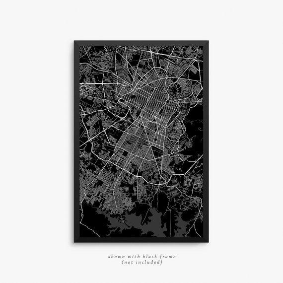 Puebla City Street Map Puebla Mexico Modern Art by JurqStudio