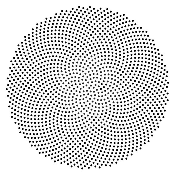 Fibonacci / Golden Ratio Spiral Dot Pattern, 1597 Dots Stock Image