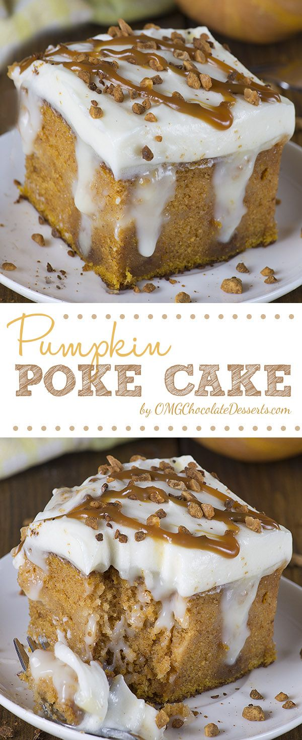 Pumpkin Poke Cake - If you love classic pumpkin cake with cream cheese frosting, then you will surely love this upgraded version of the unbelievably moist Pumpkin cake filled with homemade white chocolate pudding.