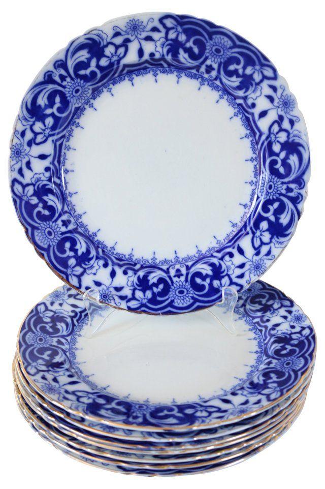 Wedgwood Flow Blue Dinner Plates, S/8
