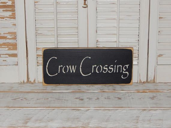 Crow Crossing Sign  Fall Decor Primitive Country Home Decor