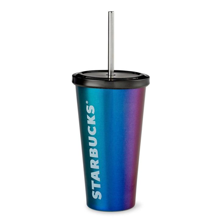 A stainless steel, vacuum-plated Starbucks Cold Cup, dressed in an array of cool colors.