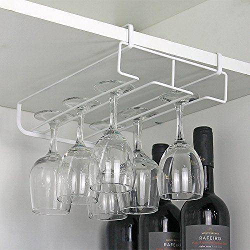 Calistouk durable de cuisine en acier inoxydable Bar Champagne support pour verres de vin Goblet Rack Décoration murale à suspendre Tasse…