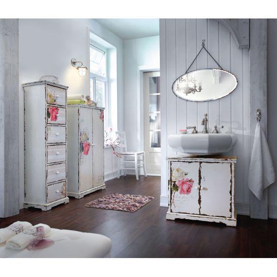 Waschbeckenunterschrank Vintage : Waschbeckenunterschrank Rose, ein Einlegeboden, Vintage Look