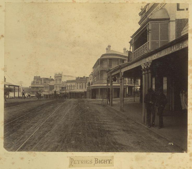 Petrie's Bight in Brisbane by the Brisbane River, circa 1890 - Glimpses of the Brisbane River to the centre left of the photograph. To the right in the centre is the Petrie's Bight Undertaking Establishment.