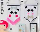 Miss Panda wall banner, Canvas wall banner, Canvas wall hanging, Childrens decor, Banner, Nursery Decoration, Childrens room decoration