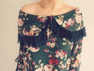 Swish My Swag khaki floral black frill lace vintage style nasty gal blouse