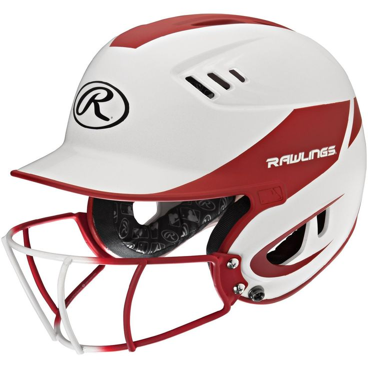 Rawlings Velo Junior 2-Tone Home Softball Helmet w-Mask-Red