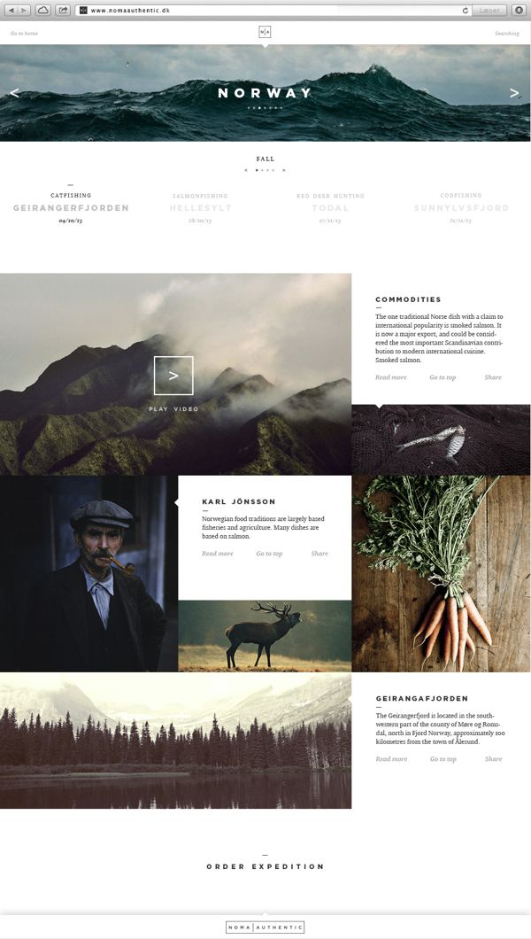 Noma Authentic | Website & App by Jonas Emmertsen, via Behance | #webdesign #it #web #design #layout #userinterface #website #webdesign < repinned by www.BlickeDeeler.de | Take a look at www.WebsiteDesign-Hamburg.de