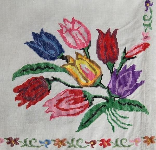 Cross Stitch Tulip Tablecloth Cross Stitch Flowers Cross Stitch Beautiful Cross Stitch Pattern
