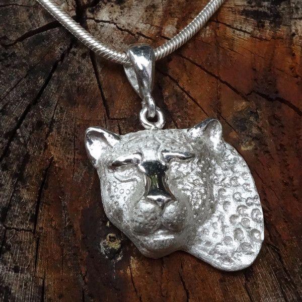 Large 3D Leopard Head Pendant - Matt. In Sterling Silver or Gold. GoodiesHub.com
