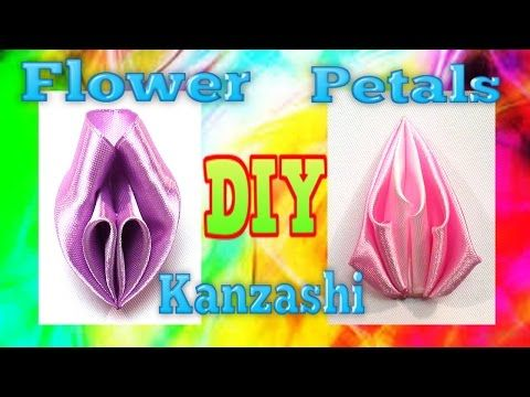 How to make kanzashi petals with ribbon, flower petals tutorial / Лепестки канзаши мастер класс - YouTube