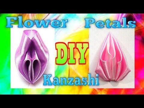 DIY ribbon flowers petals, ribbon petals tutorial, kanzashi petals - YouTube