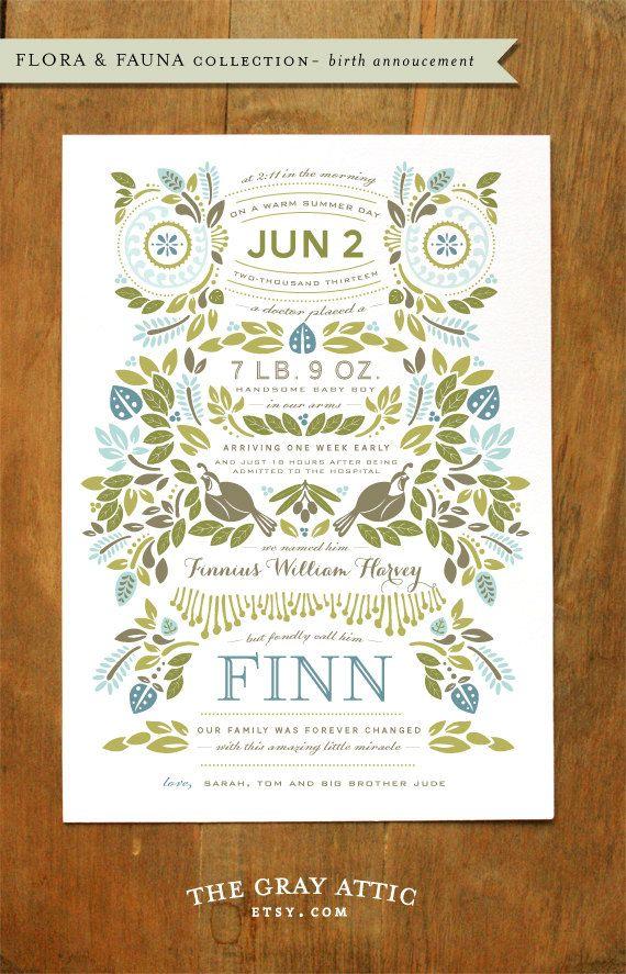 Beautiful letterpress birth announcement