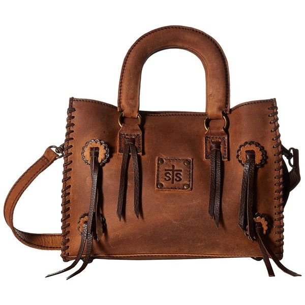 STS Ranchwear Small Chaps Satchel (Brown) Satchel Handbags ($175) ❤ liked on Polyvore featuring bags, handbags, brown leather purse, leather satchel, brown leather handbags, fringe leather handbags and fringe purse