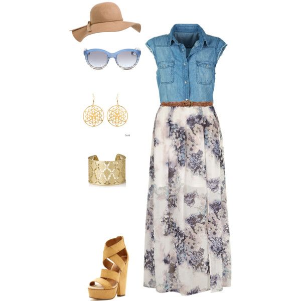 Family Cookout outfit: floral skirt, denim shirt
