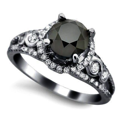 Black Diamond Vintage Engagement Ring | From Blog: 25 Black Diamond Engagement Rings via InkedWeddings.com