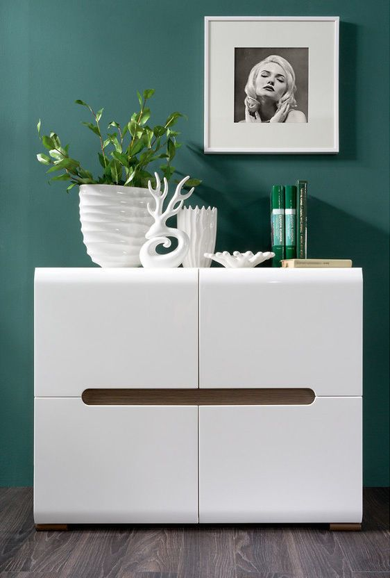 White Gloss Sideboard Dresser Buffet 4 Door Cabinet Modern Living Room Furniture