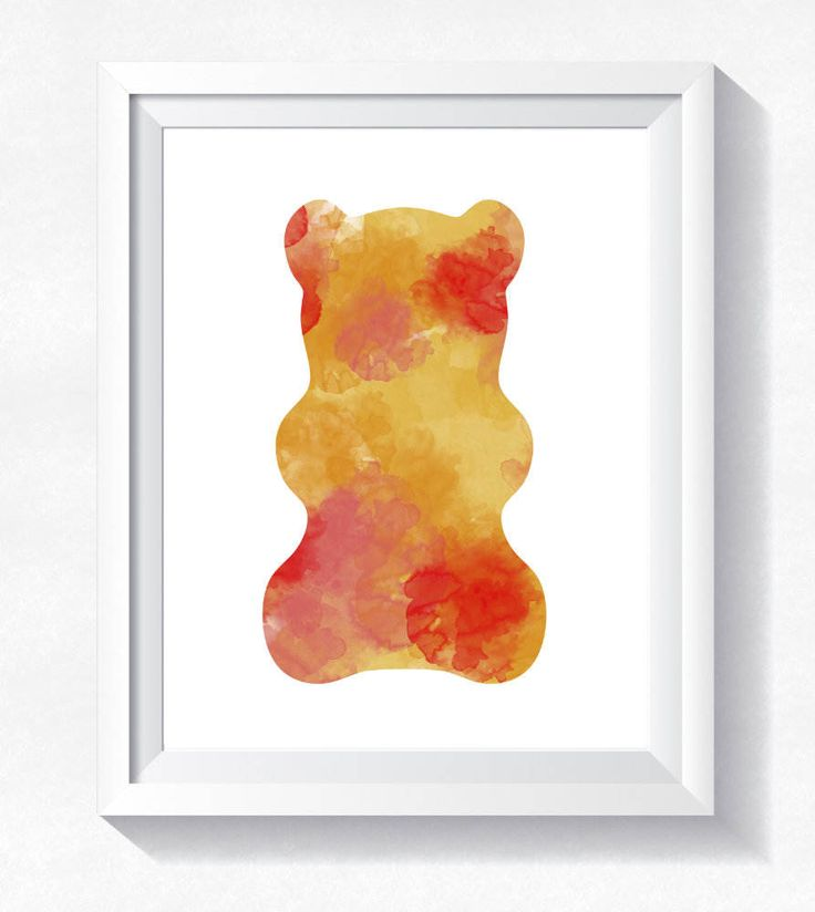 Gummy Bear print, Orange bear wall art, bear watercolor, toddler wall art, nursery printable, instant download, gummy bear printable poster by HappyLittleFrog on Etsy