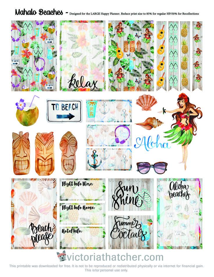 Planner Printables Hawaii Vacation