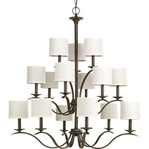 Progress Lighting P4650 Inspire Chandelier with 15 Lights - 40 Wide (Nickel Finish)