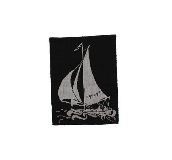 Decorative vintage retro Wall hanging with a Boat in white and