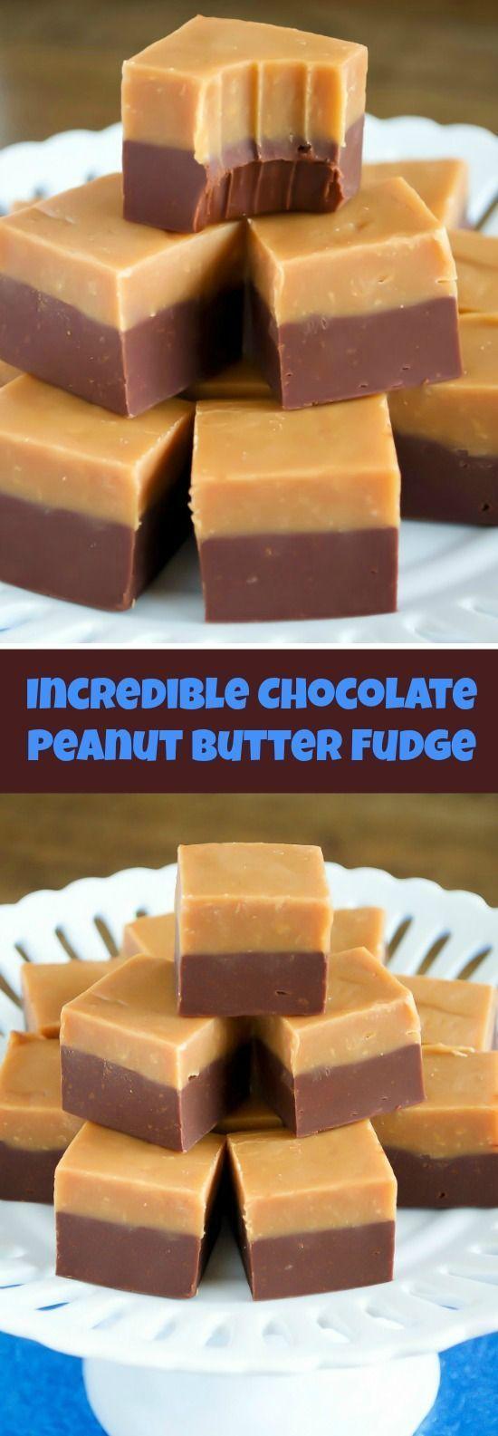 EASY Double Decker Chocolate Peanut Butter Fudge Recipe