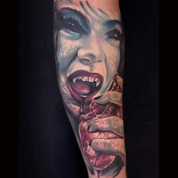35 Best Vampire Skull And Heart Tattoo Designs Images On