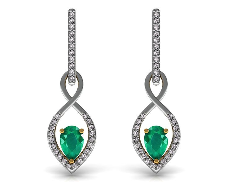 Emerald Certified Diamond Dangle Earrings 18K Solid Yellow Gold Women's Jewelry