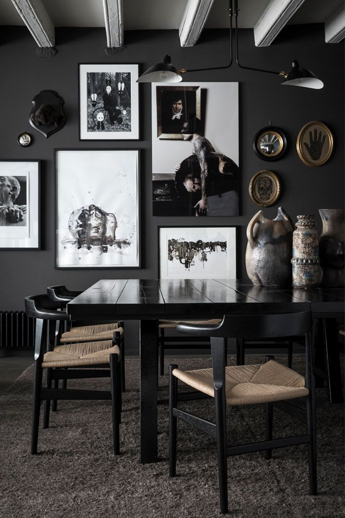 Moody Dining! Dark Dining Room Home Decor Trends Furniture Accessories  Paint Colours Lighting Style Mood Design Exposed Beams