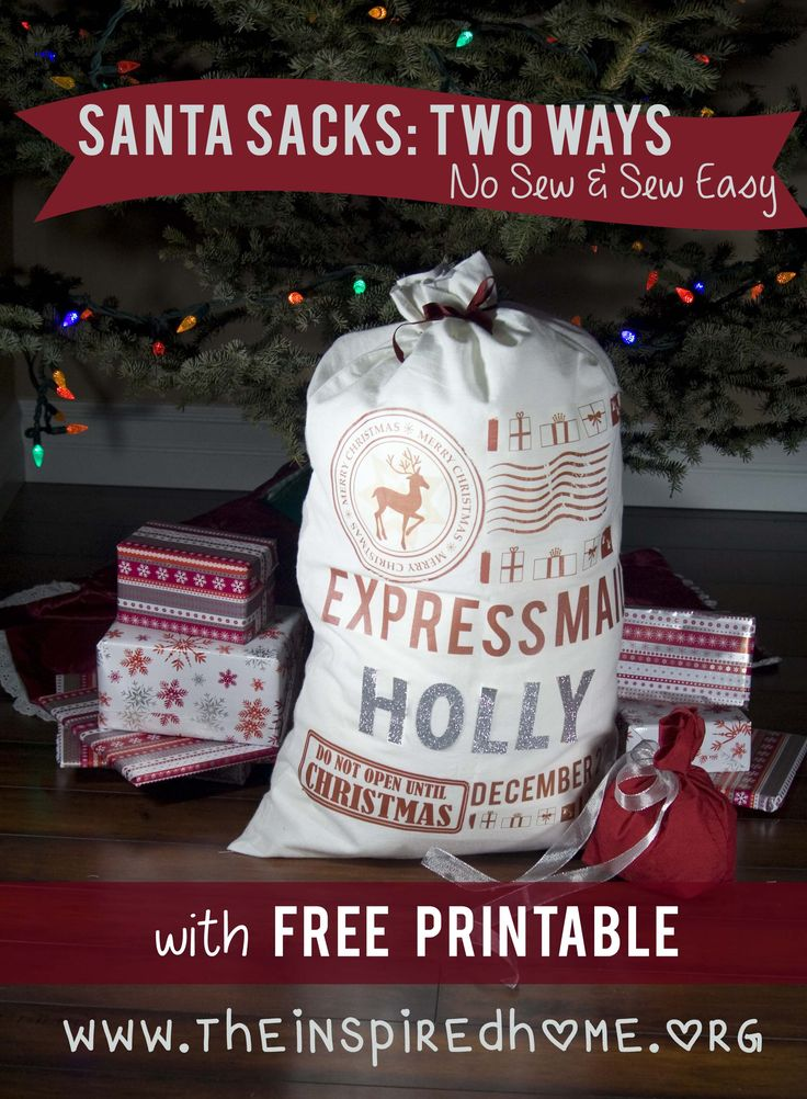 DIY Santa Sacks: 2 Ways. No Sew & Sew Easy.