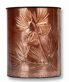 """Drawn to perfection, these hand embossed and polished copper plates are mounted on metal waste baskets No two alike, these beautifully crafted decorative custom waste baskets are wrapped with hand-drawn copper  The designs are embossed and wrapped around covering all sides of the waste basket  13""""H, Approximate Weight: 10 lbs.  Price: $59"""