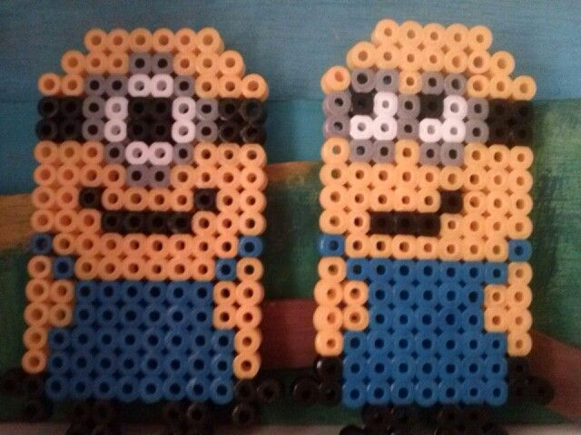 Minions perler beads by Jenny de Vries