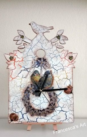 Ξύλινο ρολόι με κρακελέ ενος συστατικού http://www.francescasart.gr/eshop/ksulinaroloiaarithmoirologiou/