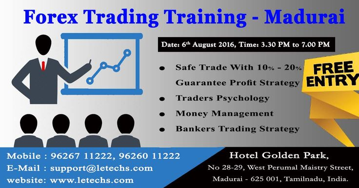 Free Forex Technical Seminar @ MADURAI, Tamilnadu, India.   ==> Forex introduction ==> Trading Strategy - Safe Trade with 10% Guarantee Profit ==> Trader's Psychology ==> Money management  ==> Questionnaires section  ==> Broker introduction   We Welcomes you all for the Free Forex Technical Seminar for Upcoming(6th August) weekend Saturday conducted @MADURAI , Tamil Nadu, India.   Training Organized By   : FXBM Training Conducted by  : LeTechs Date